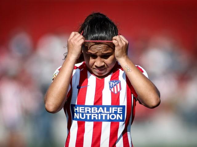 Eine Spielerin von Atletico Madrid.