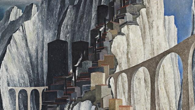 Kubo-Futuristisches Bild: Das Bergwerk wird in eckigen Formen angedeutet, daneben prominent ein Viadukt, im Hintergrund Felsen.