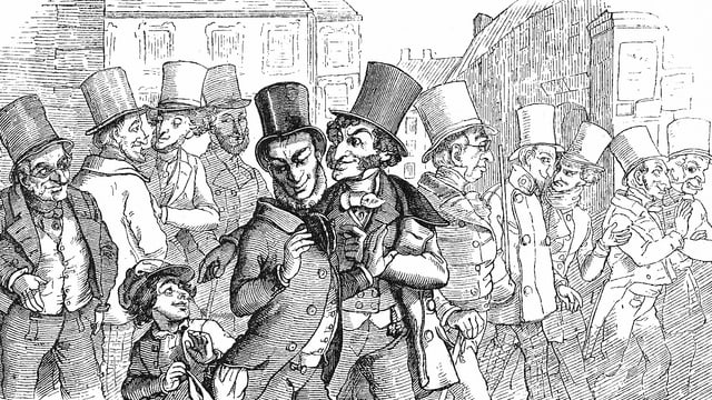 Ein Junge schaut in die Tsche eines Mannes, der einen Zylinder trägt.