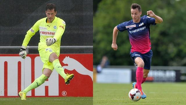 Ein kombiniertes Bild: Links GC-Goalie Davari bei einem Abstoss, rechts FCZ-Stürmer Rossini den Ball führend.