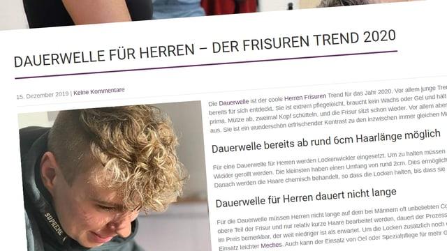 Der Screenshot einer Coiffure-Webseite, auf der die Dauerwelle als Frisurentrend 2020 beschrieben wird