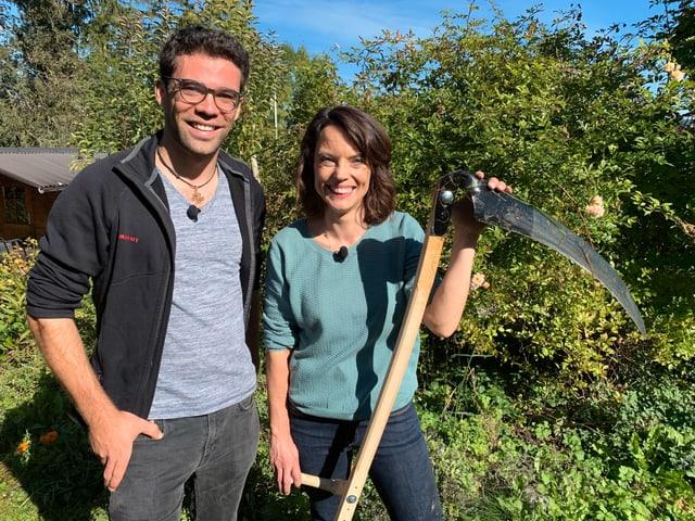 Mona Vetsch und Jonas Landolt im Garten