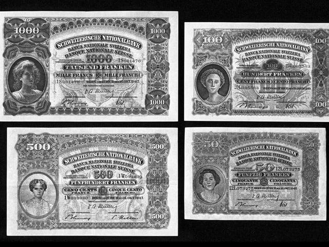 Die Vorderseite der 1000-er, 500-er, 100-er und 50er Noten von 1911.