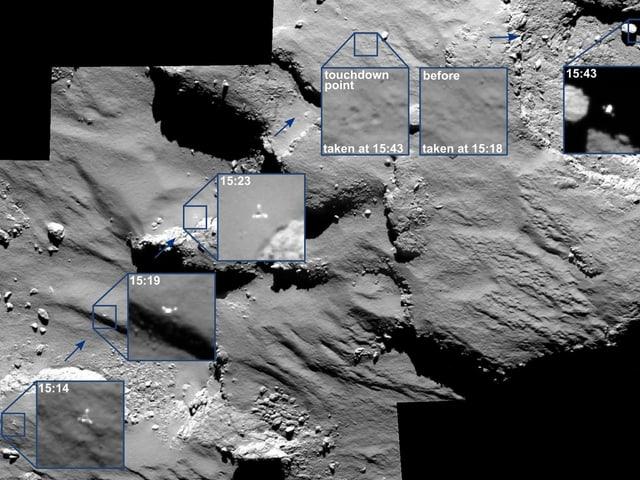Eine Bildmontage der ESA zeigt Fotos vom Anflug und Touchdown des Landers Philae auf dem Kometen Tschuri.