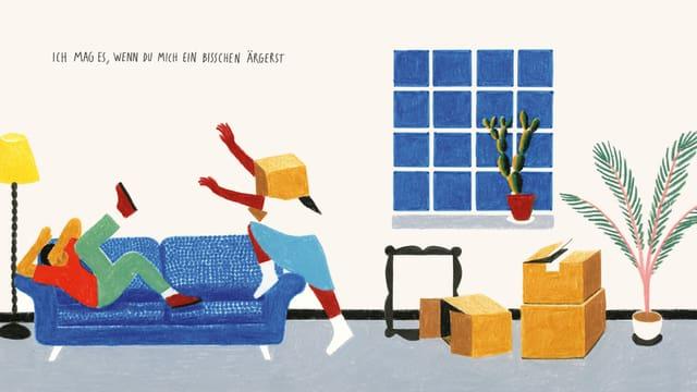 """Illustration: Ein Mann kauert sich auf einem Sofa zusammen, eine Frau mit Kartonschachtel auf dem Kopf bewegt sich mit angriffig ausgestreckten Armen auf ihn zu. Darüber die Schrift: """"Ich mag es, wenn du mich ein bisschen ärgerst."""""""