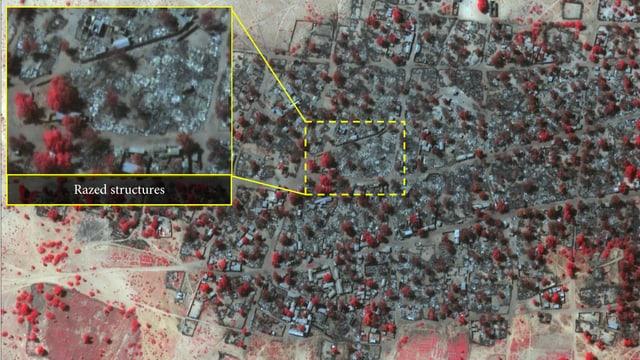 Satellitenaufnahme, welche die Zerstörung zeigt