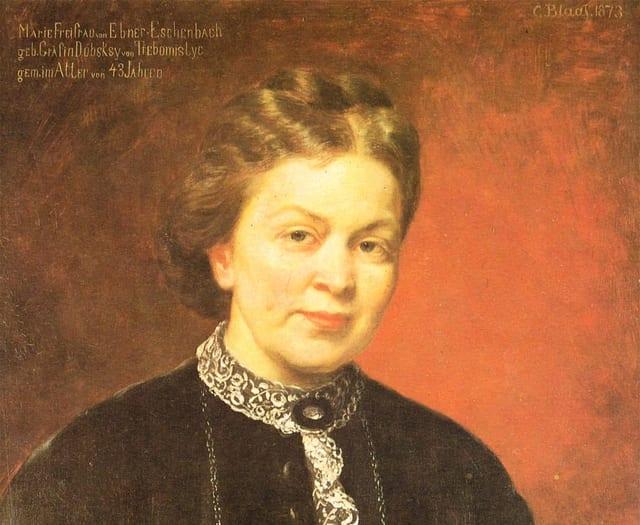 Porträt von Marie von Ebner-Eschenbach als Ölgemälde.