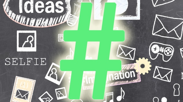 Ein grün erleuchteter Hashtag.