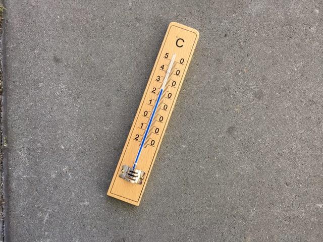 Ein Thermometer zeigt 25 Grad.