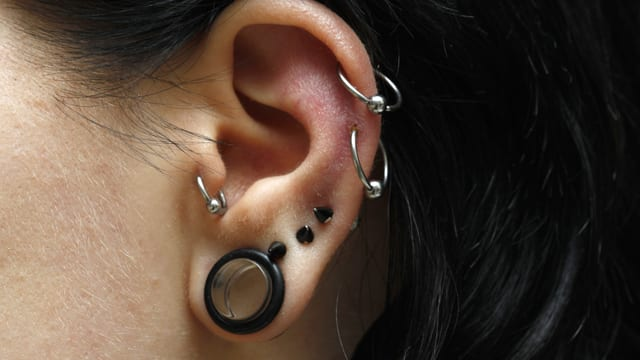 Ein Ohr einer jungen Frau, das mehrmals gepierct ist.