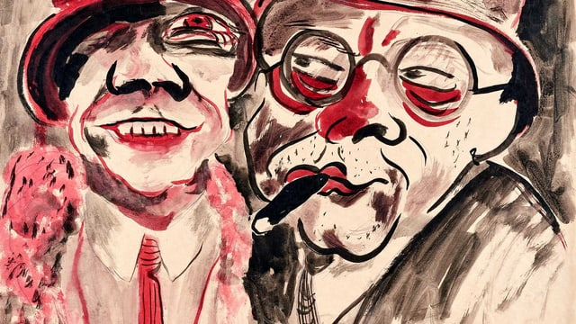 Eine rot-schwarze Zeichnun von einem Paar.