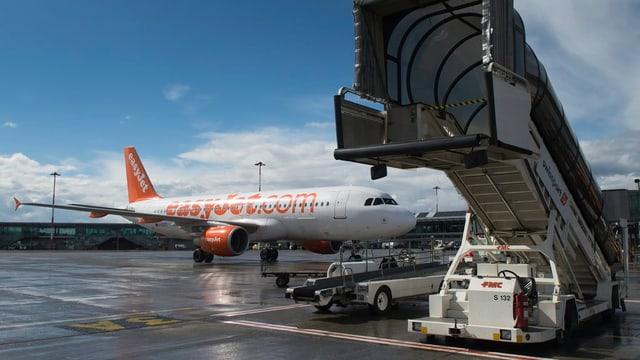 Flugzeug von Easyjet am Euroairport.