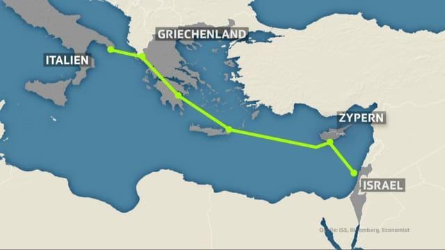 Die Pipeline führt von Israel via Zypern und Griechenland nach Italien.