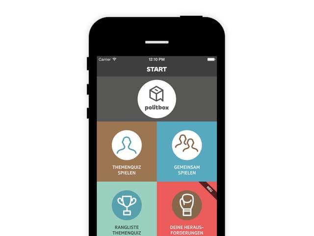 Startscreen der politbox-App.