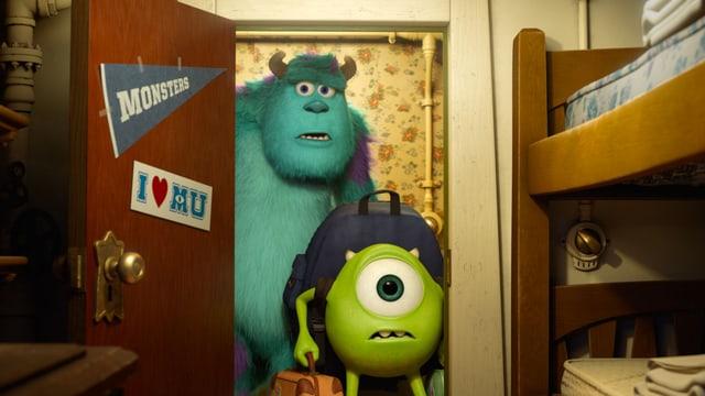 Bilda aus «Monsters University», dem neusten Pixar-Animationsfilm. Die beiden Hauptcharaktere stehen etwas ratlos in einer Türe und besehen ihren neuen Schlafraum.