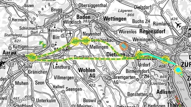 Kartenausschnitt mit eingezeichneten Linienführungen