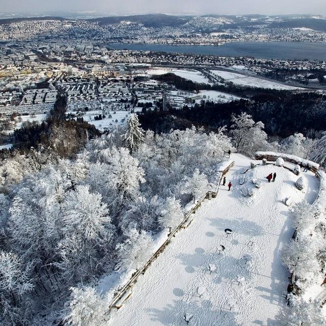 Blick vom Üetliberg, Zürich im Winter