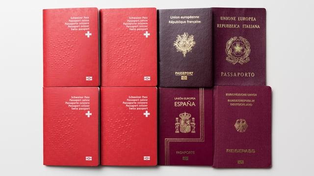 Pass svizzers, in franzos, in talian, in spagnol ed in tudestg.