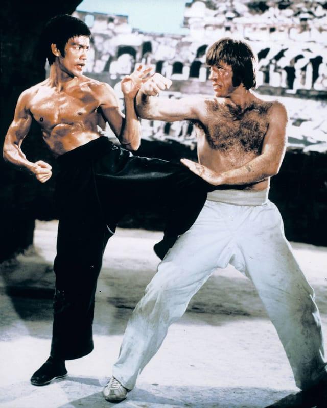 Bruce Lee kämpft gegen Chuck Norris