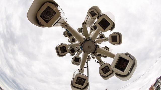 Eine Horde von Überwachungskameras, deren Linsen uns anschauen.