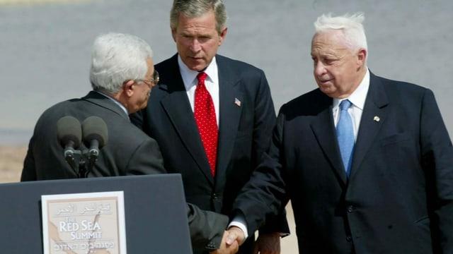 Bush, Sharon und Abbas.