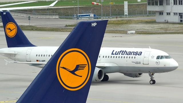 eroplan da la Lufthansa sin l'eroport