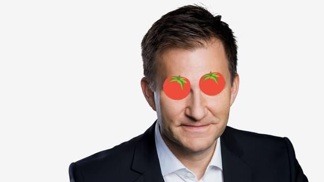 Sascha Ruefer mit Tomaten auf den Augen