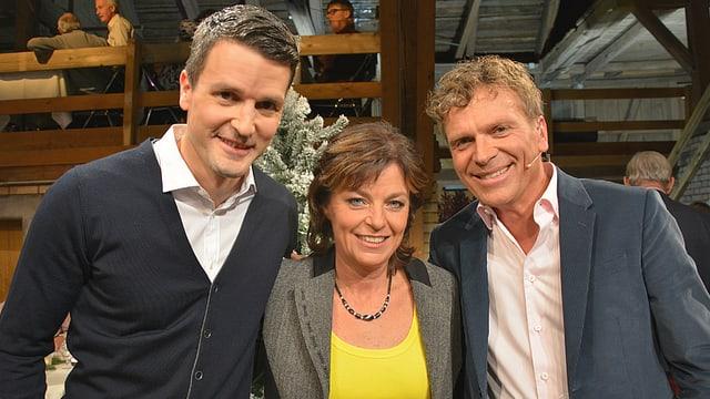 Promi-Jasser Paddy Kälin mit Monika Fasnacht und Dani Müller in Gossau.