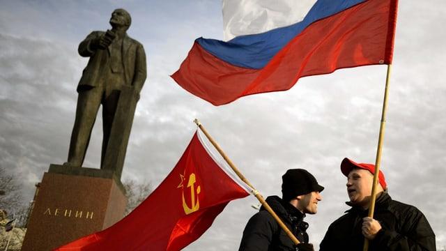 Pro-russische Demonstranten auf der Krim.