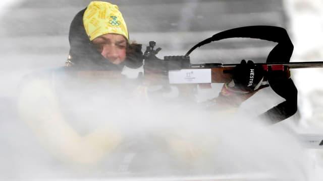 Die Schwedin Anna Magnusson beim Biathlon-Training.