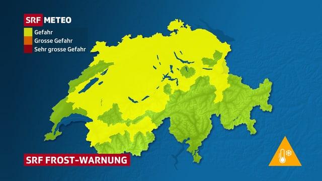 Schweizerkarte mit Frostwarnung im Flachland.