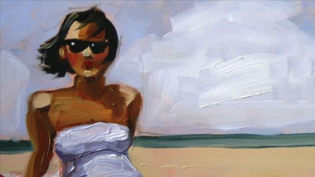 Aquarell: Frau sitzt am Strand