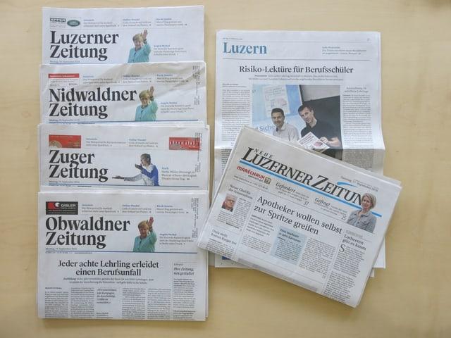 Die Titelseiten der verschiedenen Zeitungen aus dem Haus der Luzerner Zeitung.