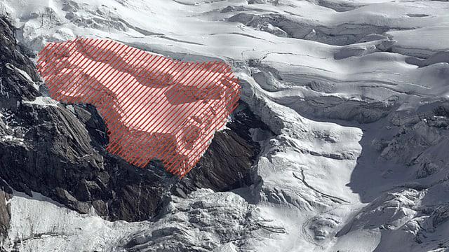 Bild des Triftgletschers, rot schraffiert die instabile Gletscherzunge