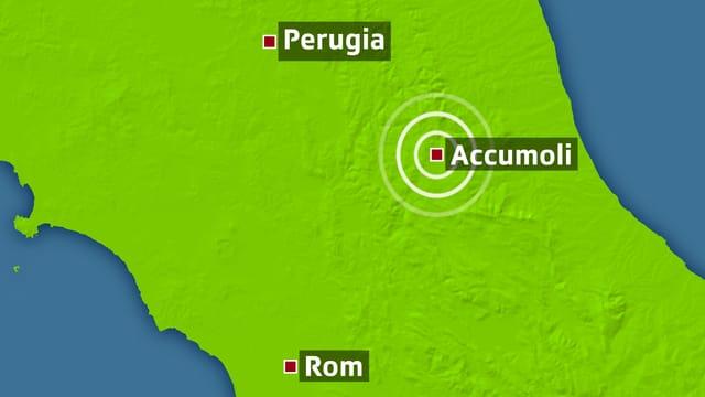 Kartenausschnitt Italiens mit Kreisen bei dem Epizentrum in Accumoli