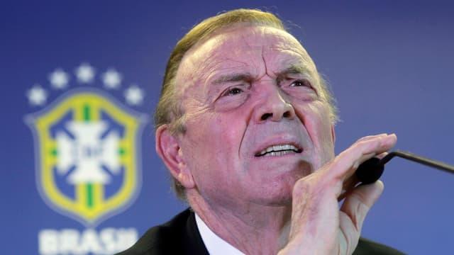 Der Fifa-Funktionär José Maria Marin an einer Pressekonferenz