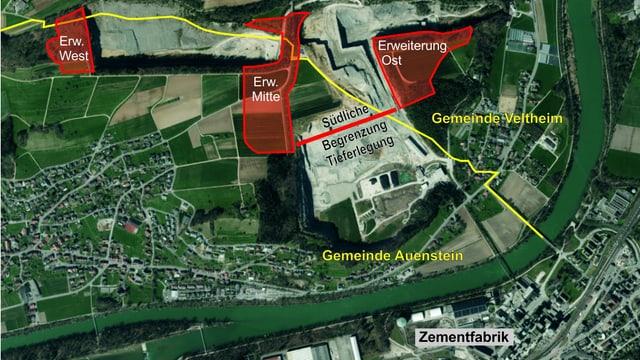 Karte mit eingezeichneter Erweiterung Steinbruch