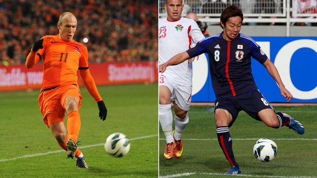 Potenzielle Brasilien-Reisende: Arjen Robben und Hiroshi Kiyotake.