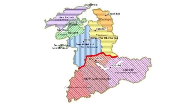 Karte des Kantons Bern mit den Verwaltungsregionen.