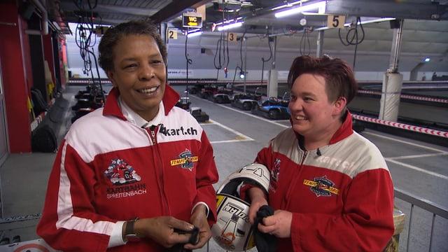 Marla Glen und Claudia Schmid in ihrer Freizeit: Ein Ausflug auf die Kartbahn Spreitenbach.