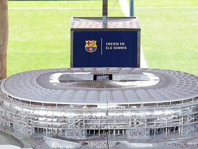 Modell Fussball-Stadion.