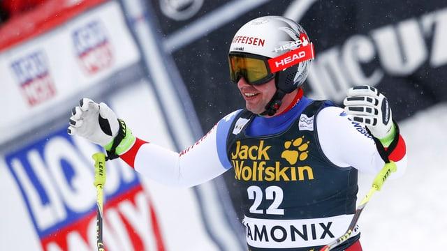 Beat Feuz all'arrivada da la cursa rapida da Chamonix - el è vegnì terz