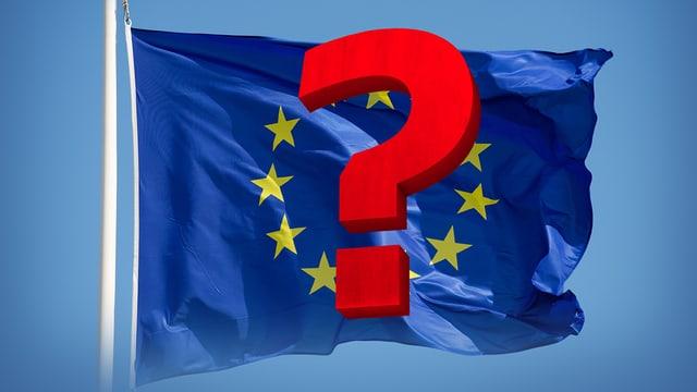 EU-Fahne mit Fragezeichen