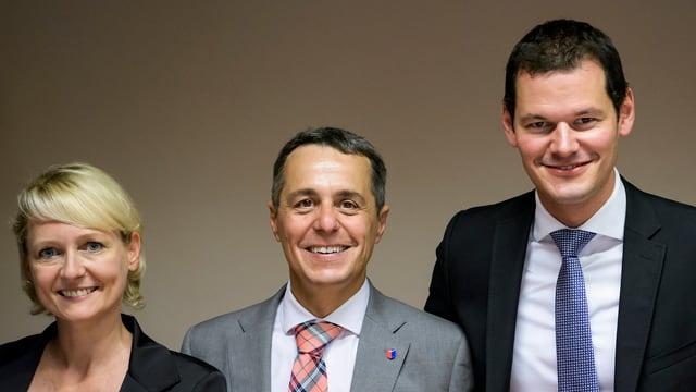 Isabelle Moret, Ignazio Cassis und Pierre Maudet (von links nach rechts)