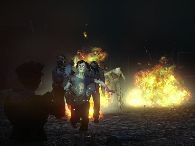 Zombies und eine Feuer-Explosion bei Nacht.