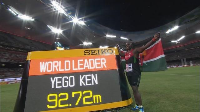 Der Kenianer Julius Yego gewinnt Gold im Speerwurf.