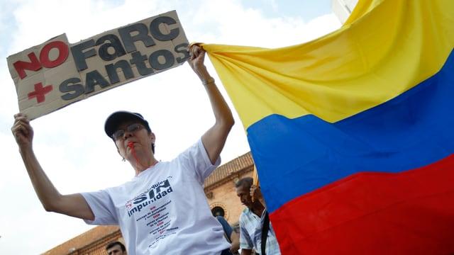 Demonstration gegen Farc-Guerilla
