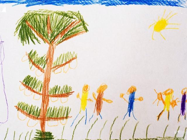 Kinderzeichnung mit Baum und Menschen