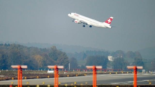 Flugzeug startet vom Flughafen Zürich.