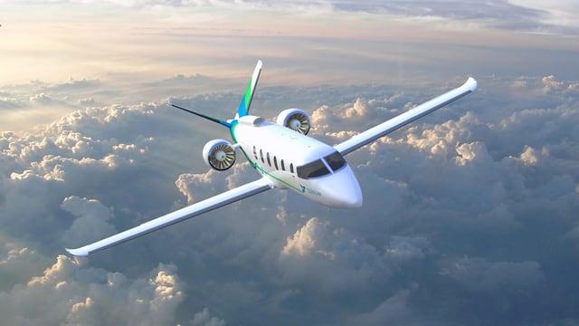 Ein Flugzeug über Wolken.